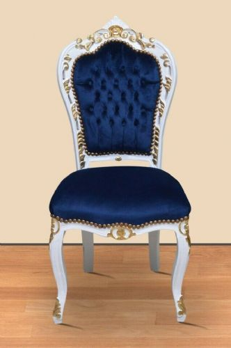 CHAIRS FRANCE BAROQUE STYLE DINING ROYAL CHAIR WHITE-GOLD / BLUE #60ST5